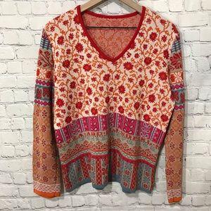 Oilily V-neck Pullover Alphabet Pattern Sweater